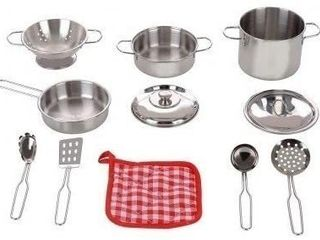 11pc Stainless Steel Play Cooking Accessories