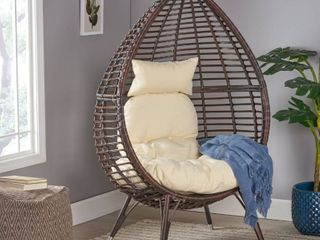 Woven Wicker Brown Basket Chair Includes Cushion  legs and Hardware