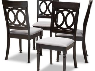 Dark Brown  Braxton Studio lucie Modern Grey Fabric and Espresso Brown Wood 2 PC Dining Chair Set Retail 118 49