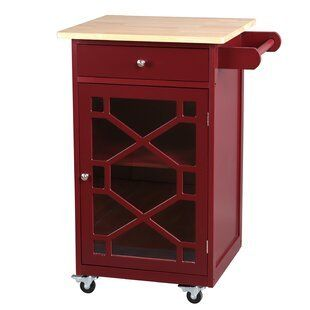 Antique Red with Natural Wood top  Amelie Kitchen Cart Retail 140 49