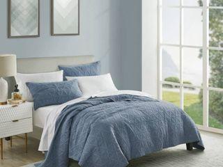 Beaute living Space Dyed Denim Blue King 3 Piece Quilt Set Retail 109 99