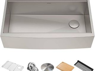 KRAUS Workstation 36 inch 16 Gauge Stainless Steel Single Bowl Farmhouse Kitchen Sink with Accessories