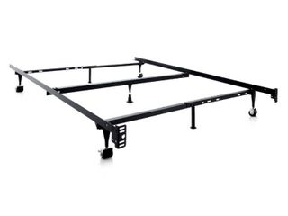 Adjustable Metal Bed Frame with Rollers Twin  Twin Xl  Full  Full Xl  Queen