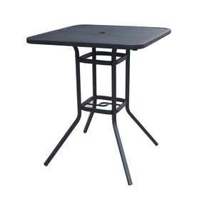 Style Selections Garden Treasures Pelham Bay Black Steel Frame Steel Top Square Patio Bar Height Table