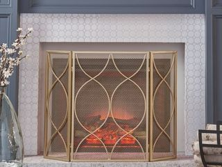 Pleasants Modern Three Panel Fireplace screen by Christopher Knight Home   1 25W x 41 00l x 29 75H Retail 89 99