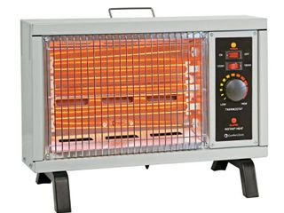 Comfort Zone 1500w Electric Radiant Space Heater with Adjustable Thermostat  Ivory