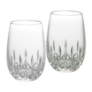 Waterford lismore Nouveau Clear 8oz  Stemless Wine lead Crystal  Set of 2  Retail 135 00