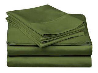 California King Superior 300 Thread Count Deep Pocket Cotton Sateen Bed Sheet Set Hunter Green Retail 82 99