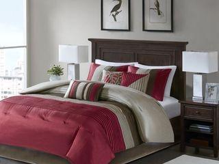 Madison Park Tradewind Red 7 piece King Comforter Set Retail 104 99