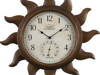 FirsTime   Co  Sundeck Outdoor Clock  American Crafted  Aged Copper  Metal  19 x 1 75 x 19 in