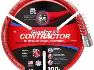 NeverKink Contractor 3 4 in x 100 ft Contractor Duty Kink Free Vinyl Red Coiled Hose RETAIl  59 98