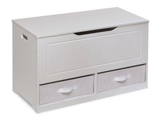 White Grey Modern  amp  Contemporary Painted MDF Assembly Required Badger Basket Up and Down Toy and Storage Box and Bench with Two Baskets White Retail  123 99