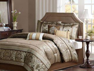 Mirage 7 Piece Polyester Jacquard Comforter Bedding Set with Bedskirt   Cali King