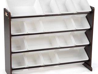 Espresso 16 Plastic Bins Supersized Wood Toy Storage Organizer Retail 76 11