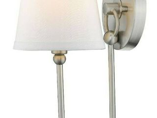 Satin Nickel Simple 1 light Wall Sconce With White Fabric Shade Ul Damp
