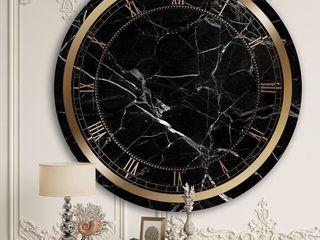 Designart Black Marble II Glam Wall Clock