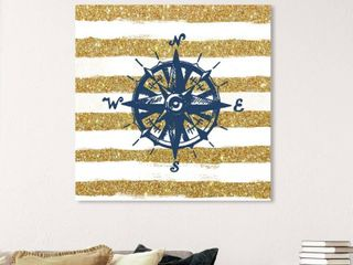 Oliver Gal Compass Glitter Nautical and Coastal Wall Art Canvas Print Nautical Terms   Gold  Blue Retail 162 99