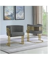 Dark Grey Best Quality Furniture Accent Chair with Gold Base  Single