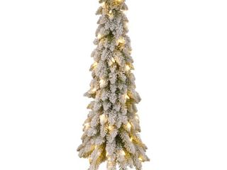 National Tree Snowy Downswept Tree with Metal Plate  36 Inch  Pre Strung with 50 Clear lights