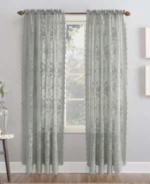 63x58 Alison Floral lace Sheer Rod Pocket Curtain Panel Gray   No  918