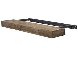 The Gray Barn Haven Walnut Brown Rustic Wood Floating Wall Shelf  Small