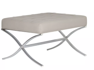 Off White Strick  amp  Bolton Haseltine Bonded leather  Steel Ottoman Retail  154 49
