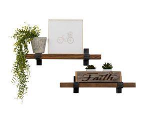 Walnut Del Hutson Designs Industrial Grace Bracket Shelf 24 Inch