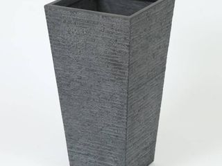 Gray Stone Finish Tall Tapered Square MgO Planter