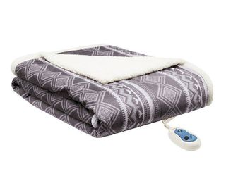 Woolrich Anderson Reversible Printed Oversized Faux Fur to Berber Electric Throw Bedding