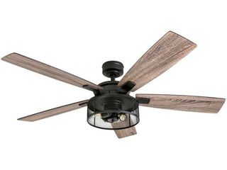 Honeywell Carnegie 52in Matte Black lED Industrial Ceiling Fan with Remote  Mesh Drum lighting and Edison Bulbs