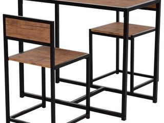 2 Rectangle Brown HOMCOM Industrial 3 Piece Dining Table and 2 Chair Set for Small Space in the Dining Room or Kitchen