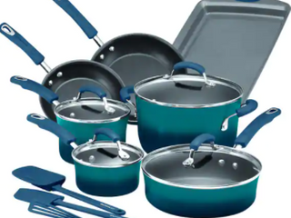 Rachael Ray Hard Enamel 14 Piece Cookware Set in Marine Blue