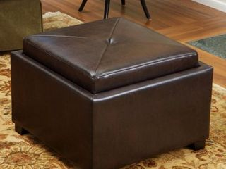 Andrea Brown leather Tray Top Storage Ottoman by Christopher Knight Home  Retail 159 99