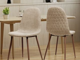 Caden Mid century Fabric Dining Chair  Set of 2  by Christopher Knight Home Retail 134 49