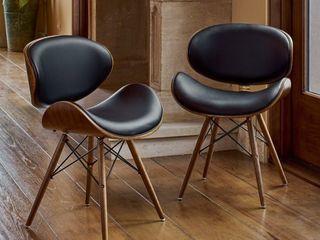 Corvus Madonna Mid century Walnut and Black Finish Accent Chair  Retail 217 49