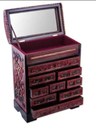 Jewelry Box  Handmade Garden Hummingbirds Wood and leather Jewelry Box  Peru  Retail 153 49