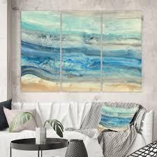 60 in  wide x 40 in  high 3 Panels Designart Coast Blue Sea Waves Watercolour Modern Farmhouse Canvas Art