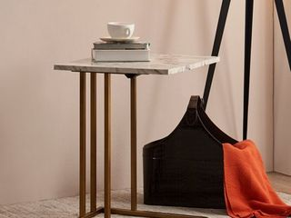 Marble Versanora Marmo C Shape Extension Table With Faux Marble Top  Brass Finish  Retail 131 49
