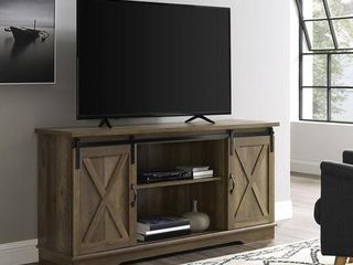 58 inch Sliding Barn Door TV Stand Media Console in Reclaimed Barnwood