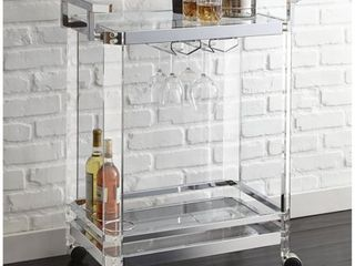 Alba Acrylic Server Cart by Greyson living   35 inches high x 29 inches wide x 17 inches deep  Retail 219 99