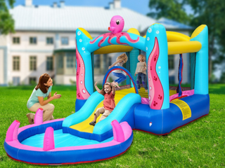 Octopus Inflatable Bounce Houses Castle with Water Function Retail 474 64