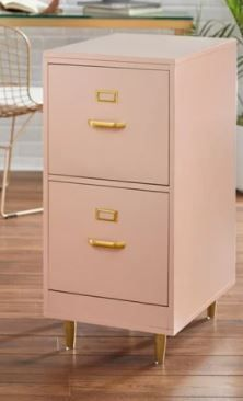 TMS   Dixie 2 Drawer Filing Cabinet   Blush Pink