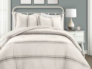 lush Decor Farmhouse Stripe 3 Piece Comforter Set Retail 127 99