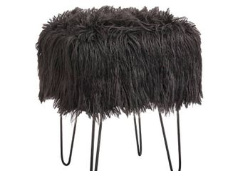 Miranda Faux Fur Stool Dark Gray   Buylateral