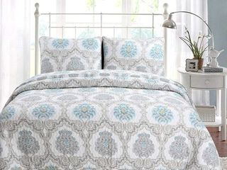 Cozy line Kamala Damask 3 Piece Reversible Cotton Quilt Set Retail 97 99