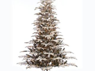 Puleo International 7 1 2 ft  Pre lit Aspen Green Fir Flocked Artificial Christmas Tree 700 Ul listed Clear lights  Retail 284 49