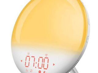 Mpow Wake Up light Alarm Clock with Sunrise Simulation  Dual Alarm 6 Natural Sounds  FM Radio