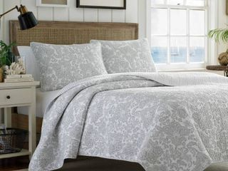 Queen Full   Queen   3 Piece  Tommy Bahama Island Memory Gray 3 piece Quilt Set Retail 108 98