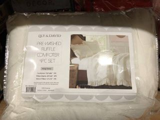 King   IVORY  lIlY NY Pre Washed 4 Piece Comforter Set Retail 84 99