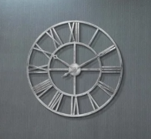 Weathered Silver Tower 30 In Indoor outdoor Decorative Roman Numeral Wall Clock